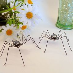 Large Black Spiders Hanging Two Handmade by SpiderwoodHollow, $20.00