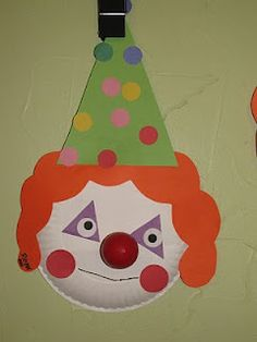 circus paper plate clown decor