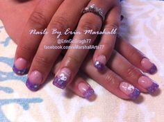 Purple Glitter Acrylic Nails. Nail Art