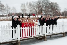 This wedding party is decked out in the perfect Minnesota winter wedding colors! Photo by Kim. #Minneapolisweddingphotgraphers #weddingparty #winterweddingcolors