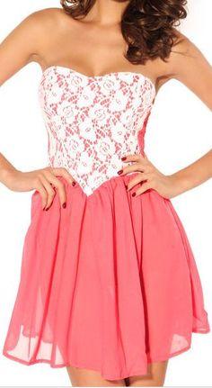 Lace Bustier Chiffon Dress ♥ - love the heart shaped corsette