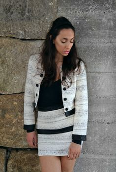 """Raquel Baptista """"Mind, Body & Soul"""" Lookbook - Look1: Tweed Jacket and Tweed Double Layer Skirt with Leather Contrast!"""