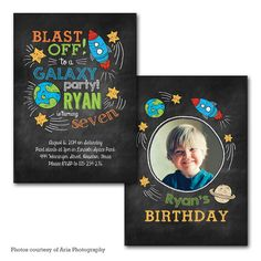 Blast Off Outer Space Rocket Birthday Invitation by PrintFrameHang, $7.00