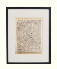 Vintage Framed City Map, Baltimore