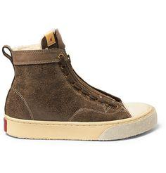 Visvim Skagway Shearling-Lined Leather Sneakers    MR PORTER