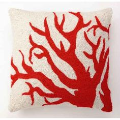 inch large red coral hook pillow