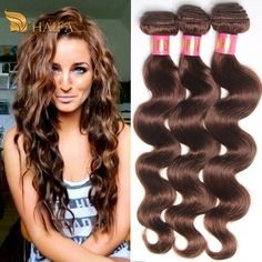 Brazilian Virgin Hair Body Wave 3 pieces weave bundles Mink Brazilian body wave #4 light Brown color 100% human hair