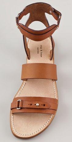 Rag & Bone Lara Flat Sandals - Luxe Fashionably Ideas- New Trends - Luxe Fashionably Ideas- New Trends Cute Sandals, Ankle Strap Sandals, Flat Sandals, Leather Sandals, Shoes Sandals, Tan Flats, Gladiator Sandals, Pretty Shoes, Cute Shoes