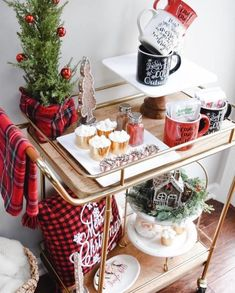 """16 Best Hot Cocoa Bar Station Ideas - Fosters Bar Designs - 16 Best Hot Cocoa Bar Station Ideas Fantastic """"bar cart decor"""" information is available on our internet site. Diy Bar Cart, Gold Bar Cart, Bar Cart Styling, Bar Cart Decor, Bar Carts, Christmas Drinks, Cozy Christmas, Holiday Fun, Christmas Time"""