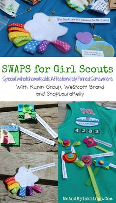 I love SWAPS and everything about this entire new thing in Girl Scouts, added since I was a little girl.  These SWAPS ribbon rainbows are so easy to make and super bright.  I love the little messag…