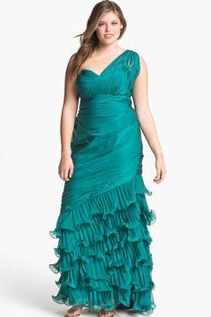 Teal Chiffon Floor-Length Plus Size Prom Dress