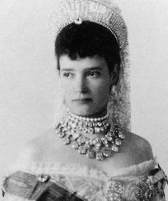 Maria Feodorovna, the dowager Tsarina, wears the Russian Imperial diamond rivière necklace believed sold in the and broken up for its stones. She was the mother of the last Tsar of Russia, Nicholas ll and sister of the British Queen Alexandra. Alexandra Feodorovna, Royal Crowns, Royal Tiaras, Tiaras And Crowns, Tsar Nicolas Ii, Tsar Nicholas, Court Dresses, Imperial Russia, Royal Families