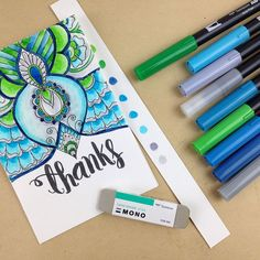 How to choose colorful combinations and how to blend the colors using the blender pen from the Tombow Dual Brush set in your adult coloring.
