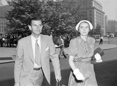 ALGER HISS, former state department employee, arrives at Federal Courthouse in New York City on June 24, 1949 for the second day on the stand testifying in his own behalf in his perjury trial.  HISS on June 24 denied he had seen Whittaker Chambers, the government's key witness, since late May or early June 1936. He is accompanied by Mrs. Hiss.