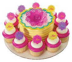 Flower Cake and Cupcake Platter