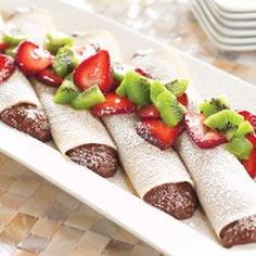 Like this look, but would try to do a raw concept to it... lessen sugar. Chocolate Cream Crepes