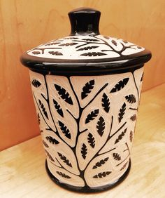 Small Branch and Leaf Jar By Jennifer Falter Sgraffito on Porcelain www.springfieldpottery.com