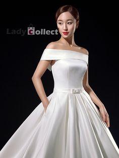 white sample off-shoulder wedding dresses