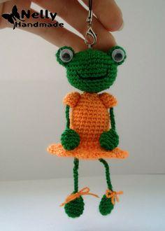 Frosch Häkeln grün Tier Figur Sommer Schlüsselanhänger Geschenk Handarbeit Hippi