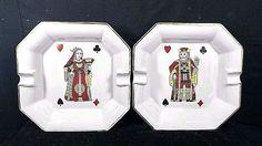 Authentic Antique Porcelaine DE PARIS France Cigar Ashtray Playing Card Set of 2