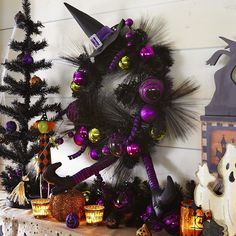 Witch Hat with Purple & Green Balls Wreath | Pier 1 Imports