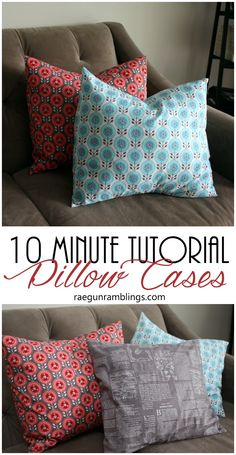 10 Minute Pillowcase Tutorial with Video - Pillows Case - Ideas of Pillows Case - Just made a bunch of these. Great video tutorial for fast pillowcases. Perfect for DIY home decor. Also how to figure out how much fabric you need for throw pillow covers. Easy Sewing Projects, Sewing Projects For Beginners, Sewing Tutorials, Sewing Hacks, Sewing Tips, Tutorial Sewing, Diy Projects, Diy Pillows, Throw Pillows