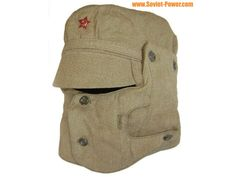 The cap comes with additional face mask which is connected to the hat for protection from the sand (during the war in Afghanistan). New condition, never used USSR military surplus. All sizes available. Summer Hats, Winter Hats, Military Fashion, Mens Fashion, Black Overcoat, Steampunk Mask, Tactical Clothing, Tactical Gear, Soviet Army