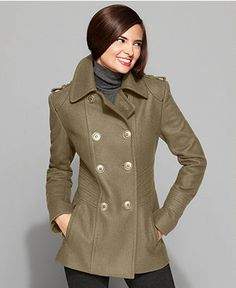 Kenneth Cole Reaction Coat, Double-Breasted Military Pea Coat - Womens Coats - Macy's