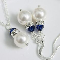 pearl jewelry CUSTOM COLOR Navy Bridesmaid Gift, Swarovski White Pearl and Navy Blue Crystal Jewelry Set, Navy Jewelry Set, Custom Bridesmaid Jewelry Pearl Jewelry, Crystal Jewelry, Wire Jewelry, Wedding Jewelry, Beaded Jewelry, Jewelery, Crystal Necklace, Blue Necklace, Silver Jewelry