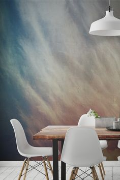Create the perfect setting for dining room spaces with this landscape wallpaper mural. Sunlit clouds against a cracked canvas texture gives this mural an abstract feel.