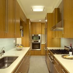 128 Central Park South - contemporary - Kitchen - New York - Ethelind Coblin Architect P. Galley Kitchen Design, Small Galley Kitchens, Kitchen Cabinet Design, Home Kitchens, Kitchen Cabinets, Kitchen Storage, Latest Kitchen Designs, Kitchen Designs Photos, Kitchen Photos
