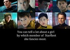 Ummm...Kahn, Spock, Bones, Scotty, Chekov, Sulu.    (*I have to choose?  I won't.  You can't make me! Ok, I require them all. kmh*)