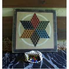 Chinese Checkers Game Board Circle black tan