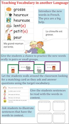 Get kids actively involved in learning and using new vocabulary in a new language.  Je travaille mon vocabulaire - c'est amusant!