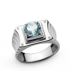 Zales Mens Barrel-Cut White Topaz and Diamond Accent Ring in Sterling Silver DYcyB