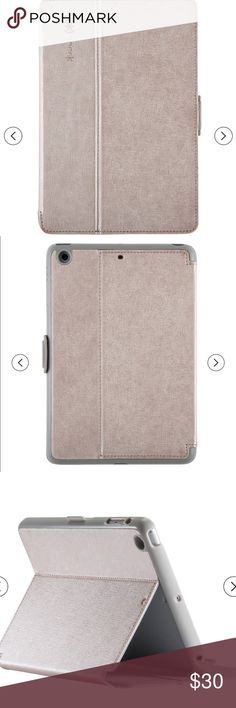 """Speck® Stylefolio Luxe for All iPad Air Speck® Stylefolio Luxe for iPad Air™ / Air 2 / Pro 9.7"""" - Textured Metallic (White Gold) Features: Compact, Outer protection, Openings for All Ports and Controls, One-Piece Design, No-Scratch Lining, Lightweight Design, Sturdy Construction, Removable Material: Leatherette, Faux Leather Dimensions: 9.630 inchesL x 6.970 inchesW x .660 inchesT speck Accessories Tablet Cases"""