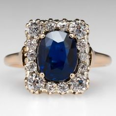 Victorian+Sapphire+Ring+w/+Old+Mine+Cut+Diamond+Halo+18K+Gold