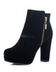 Bottines soutenues noires en cuir poncé à talons épais et bout rond avec zip - Milanoo.com