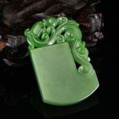 Chinese Green Hetian Jade Chi Dragon Pendant