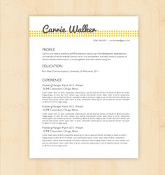 Resume Template / CV Template - The Carrie Walker Resume Design - Instant Download - Word Document / Docx / Doc Format