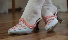 Couture Mayah - killer tutorial blog on how to make 18th century style mules out of thrift store shoes.