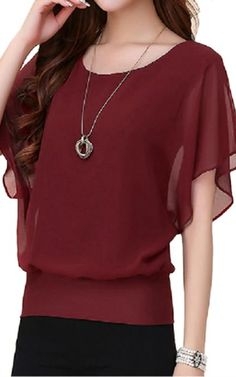 FINEJO Women's Chiffon Long Sleeve Casual Blouse Top T-Shirts Wine red XL