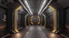 Sci-Fi Corridor (Unreal Engine 4), Jerod Oakes on ArtStation at https://www.artstation.com/artwork/Jn1VA