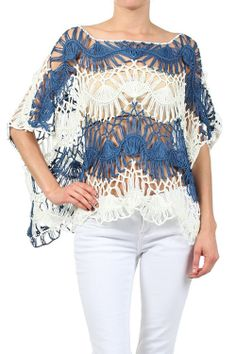 Kiwi Co. Two Tone Dolman Sleeve Crochet Knit Top Blue SmallMedium at Amazon Women's Clothing store
