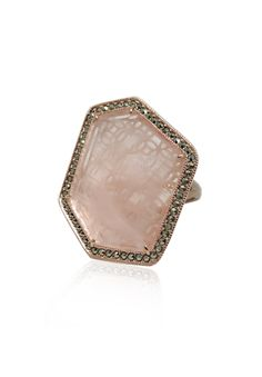 MARC Sterling Silver Pink Quartz Marcasite Large Hexagon Ring $119