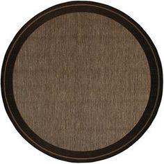 �Decora 6-ft 9-in x 6-ft 9-in Round Brown Border Indoor/Outdoor Area Rug