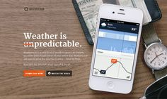 The creation of the Weathertron app for iPhone & iPad. Branding, app design & development, and web presence. Weathertron is a new kind of weather report: an instant, accurate data visualization of your entire day. Landing Page Examples, Best Landing Pages, App Landing Page, Landing Page Inspiration, Web Design Inspiration, Best Web Design, Page Design, Flat Design, Website Header