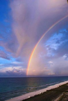 **Navarre Beach, FL**  God's Amazing beauty!!! Rainbow Magic, Rainbow Sky, Love Rainbow, Rainbow Aesthetic, Sky Aesthetic, Beautiful World, Beautiful Places, Beautiful Pictures, Rainbow Photography