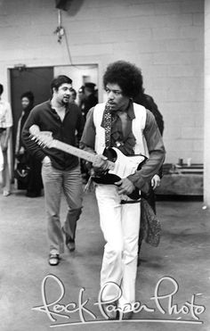 Jimi Hendrix approaches the stage at Madison Square Garden