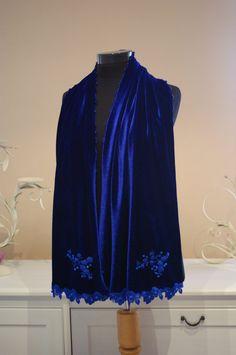 Cobalt Blue Silk Velvet Shawl Scarf With Blue